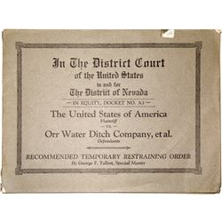 Orr Water Ditch Company Legal Papers  #25520