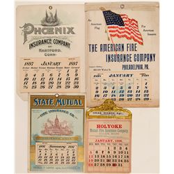 Fire Insurance Companies / Advertising Calenders / 4 Pieces  #109670