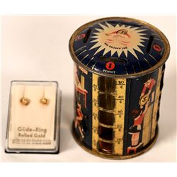 Antique Coin Bank and Gold Earrings  #109004