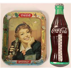 Coca Cola Tray Circa 1950 and Coca Cola Thermometer  #110286