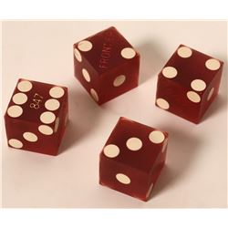 Set of 4 Numbered Dice from Frontier Casino in Las Vegas  #110283