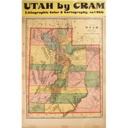 Utah Map by Cram  #59606