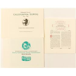 Set of Lithographic Views of California Towns and other Book Club of California Ephemera  #58661