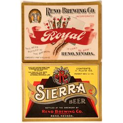 Reno Brewing Company Beer Bottle Labels for Royal and Sierra Beer (2)  #110682