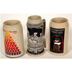 Beer Steins / German / 3 Items.   #89523