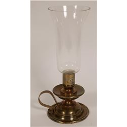 Brass Candle Holder with Glass  #109350