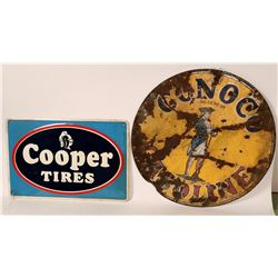 Conoco Metal Sign w. Porcelain Top & Cooper Tire Embossed Metal Sign  #110292