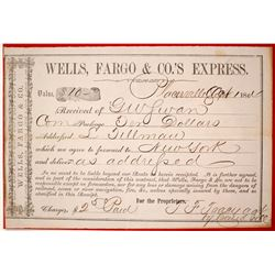 Wells Fargo Placerville Shipping Receipt, 1864  #84847