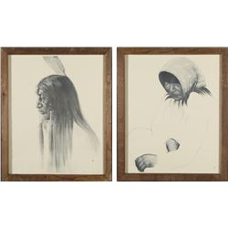Native American Man & Woman Charcoal Prints by Caples  #98034