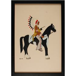 Warrior on Pinto Print by Spencer Asah  #56639