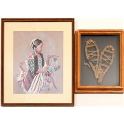 Native American Print & Snowshoes / 2 Items    #102137
