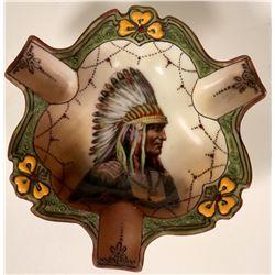Porcelain Ashtray - Indian in Full Headdress  #108004