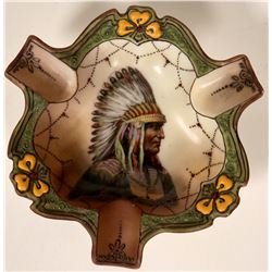 Porcelain Ashtray - Indian in Full Headdress  #108004