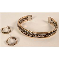Navajo Sterling Bracelet and Earrings  #109758