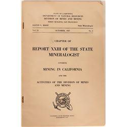 Mono County Mines Report, 1927, Ca. State Minerologist  #110050