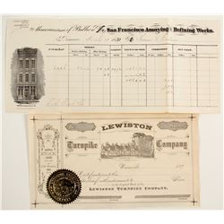 Lewiston Turnpike Stock & San Francisco Assay Receipt  #87451