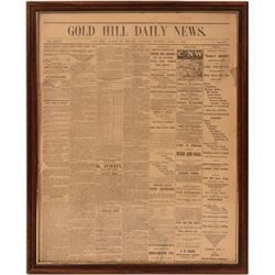 Gold Hill Daily News, April 8, 1882- Framed  #110266