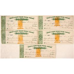 Gould & Curry Silver Mine Imprinted Checks (five count)  #59452