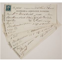 Ten Virginia City, Nevada Territory Mining Checks signed by Strong  #77344