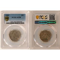 1909 Barber Quarter PCGS Certified AU58 - Proof Like Fields  #109815