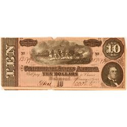 Confederate $10 Bill  #109002