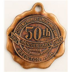 50th Anniversary Medal Citizens-Farmers & Merchants Bank  #58164