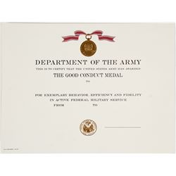 Army Good Conduct Medal Certificate  #64312