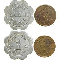 Two California Saloon Tokens  #90372
