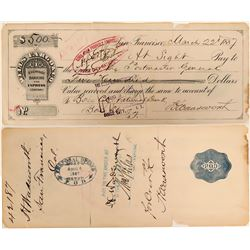 Wells Fargo Check Signed by Wadworth - Rare!  #110685