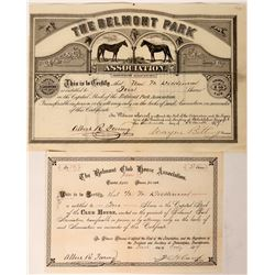 Belmont Park Association Horse Racing Certificate 1877  #110209