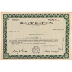 Berlin Doman Helicopters, Inc. Stock Certificate  #103395