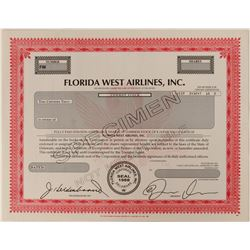 Florida West Airlines, Inc. Specimen Stock Certificate  #102639