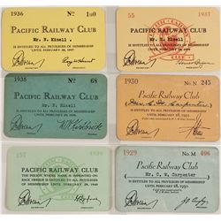 Rail pass for Pacific Railway Club (6 count)  #59946
