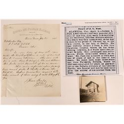 Eureka & Palisade Railroad Autographed, Signed Letter and Photograph  #110666