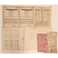 Nevada Central Railroad Company Archive (25 Items)  #110676