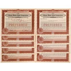Placer Motor Sales Corporation Stock Certificates  #103473
