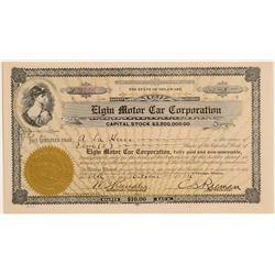 Elgin Motor Car Corporation Stock Certificate  #103462