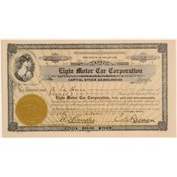 Elgin Motor Car Corporation Stock Certificate  #103462
