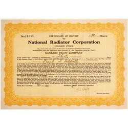 National Radiator Corp. Certificate of Deposit  #89656