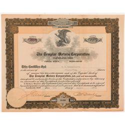 Templar Motors Corporation Stock Certificate  #104237