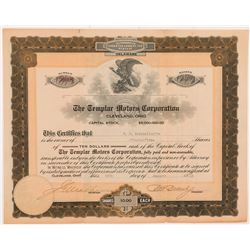 Templar Motors Corporation Stock Certificate  #104237