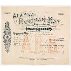 Alaska Rodman Bay Company Stock  #88069