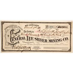 General Lee Silver Mining Company Stock - Rare G. T. Brown Lithographer Arizona Stock  #88023