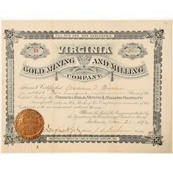Virginia Gold Mining & Milling Co. Stock Certificate  #100913