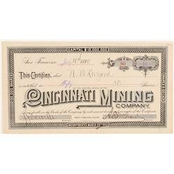 Cincinnati Mining Company Stock Certificate  #91812