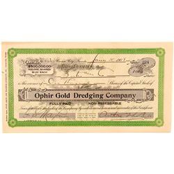 Ophir Gold Dredging Company Stock Certificate  #101616