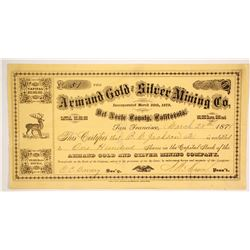 Armand Gold and Silver Mining Company Stock  #86165