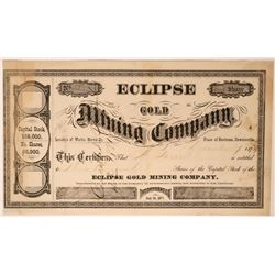 Eclipse Gold Mining Co. Stock, Downieville, Cal.-18791879  #110037