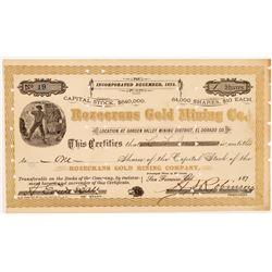 Rozecrans Gold Mining Company Stock Certificate  #104404