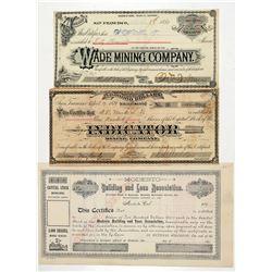 Three Fresno-Area Mining Stock Certificates  #100889